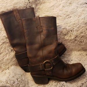 Frye Harness Distressed Dark Brown Boots